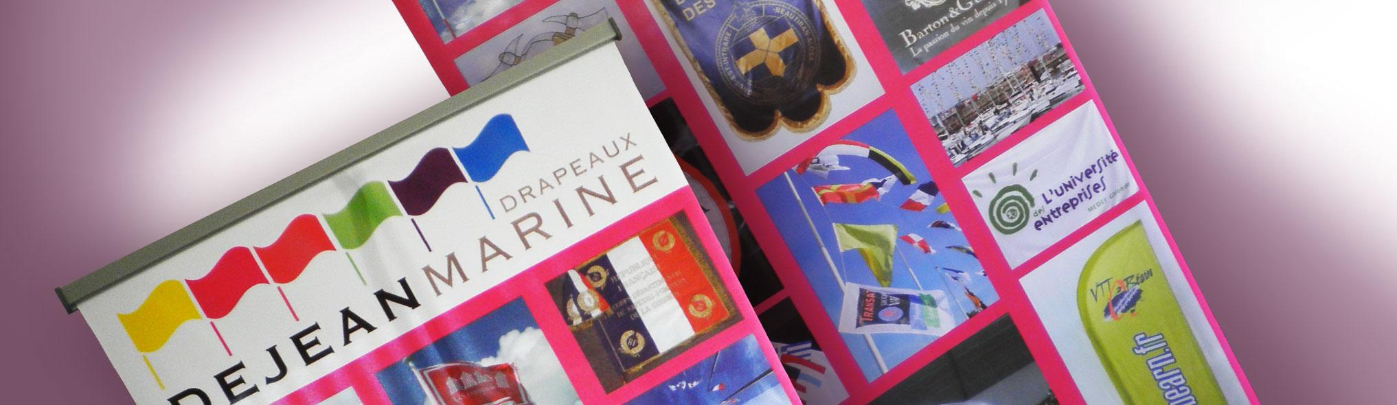 Drapeaux Dejean Marine fabrique des kakémonos et des roll-up pour afficher votre communication.