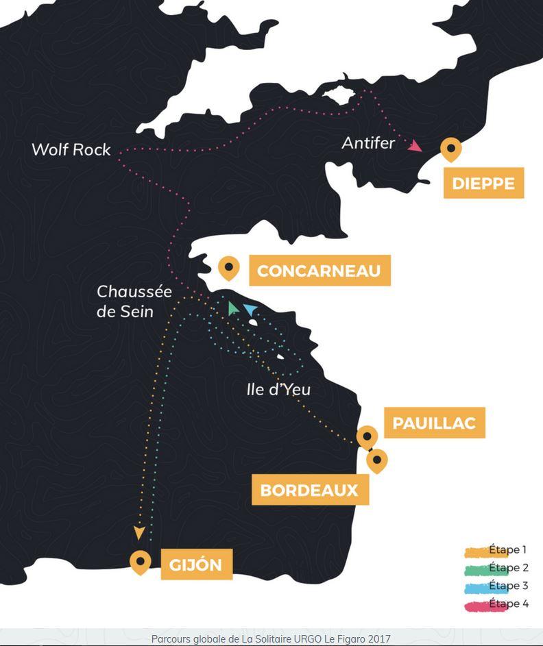Parcours de la Solitaire Urgo Le Figaro 2017