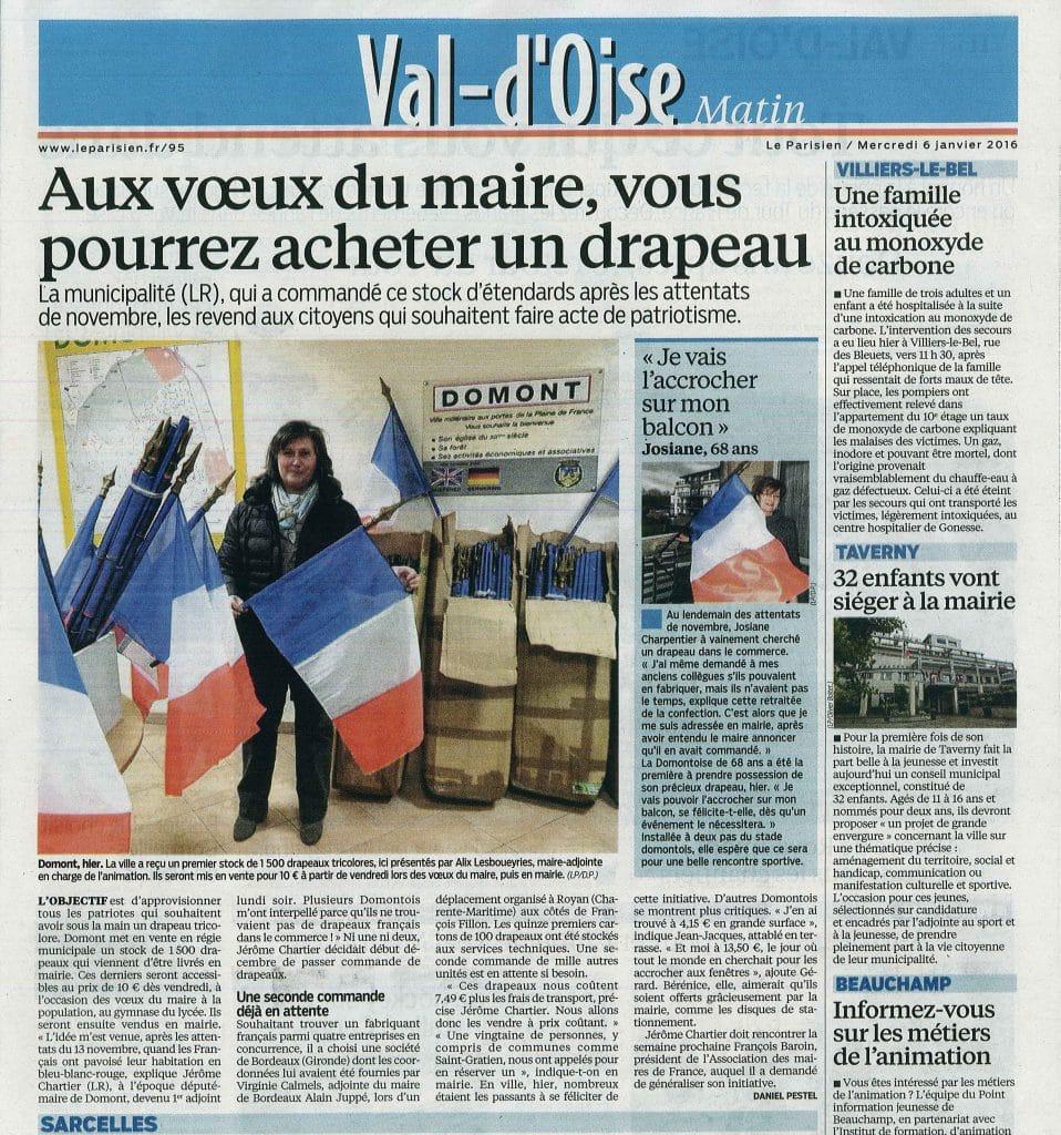 Nos drapeaux français dans Le Parisien