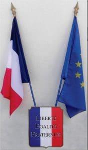 Drapeau France et Europe sur écusson